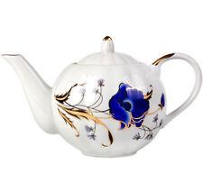 25 fl oz Teapot Dulevo Porcelain Handmade in Russia w/ Blue Poppies Decal