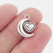 20 pcs Tibetan Silver Moon Heart Charms Pendants Beads For Necklace Making 14x18