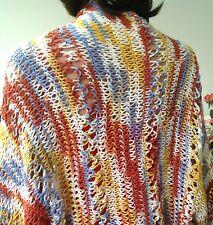 Hand Knit Cotton Shrug Shawl Spring Summer Fashion Multicolor Lace