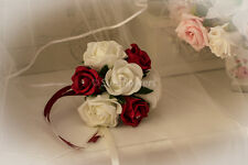 Flower Girl Bouquet in Deep Red and Ivory Roses