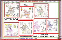 691 Sunbonnet Sue Dog embroidery Transfer Patterns IRON-ON TEA TOWELS QUILTS