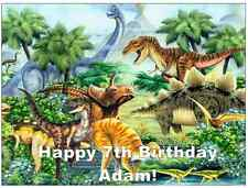 "Dinosaur Scene A4 Personalised Cake Topper 7.5"" Edible Wafer Paper"