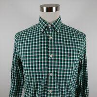 Tommy Hilfiger Mens Stretch Cotton LS Button Up Green Navy Plaid Dress Shirt S