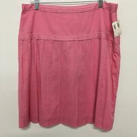 Harolds womens skirt pink white polka dot pleated side zip cotton lined Size 14