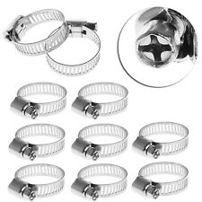 """10Pcs 3/4""""-1"""" Adjustable Stainless Steel Drive Hose Clamp Fuel Line Worm Clip"""
