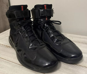 Prada Americas Cup Sneakers Black Patent Leather High Size 15 Vernice Nero