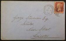GB 1866 Cover Queen Victoria 1d Red Pl 97 KI-IK, Market Harborough D Duplex PMK