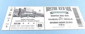 Boston Red Sox vs Kansas City Royals 2012 Ticket w/Stub Saturday 8/25/2012