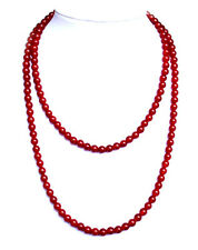 """Red carnelian bead -6mm necklace - 24"""" long NKL280001"""