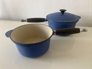 Le Creuset Cast Iron Saucepan 20L 12L Kitchen Set Blue Leather Handle Grip