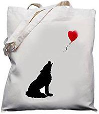 WOLF & Balloon Design-naturale (crema) Cotone Borsa a tracolla/Shopper/Tote