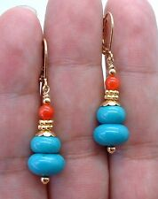 Lovely Blue Turquoise W. Orange Coral Gold Earrings
