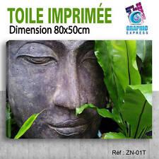 80x50cm - TOILE IMPRIMÉE-TABLEAU DECO-ZEN AMBIANCE DETENTE BUDDHA RELAX-ZN-01