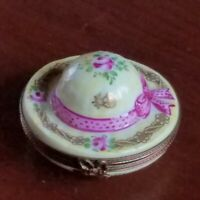 Vintage Limoges Hand Painted PV Parry Vieille Hat Bunny Easter Trinket  Box