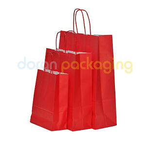 Red Paper Bags Twist Handle Party and Gift Carrier / Paper Bags With Handles