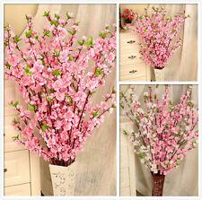 5pcs New Artificial Cherry Spring Plum Peach Blossom Branch Silk Flower Decor LG