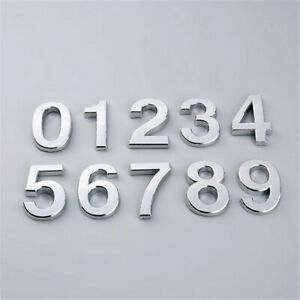 Silver Numbers Plastic Modern Plaque Number Digits Door Hotel House Sign Sticker