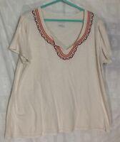 Merona Peasant Short Sleeve Top 3x Ivory Embroidered Beaded V Neck Shirt Blouse