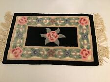 """18x30"""""""" Black, pink, green, blue, floral, 100% Acrylic Pile, Hand Tufted Chinese"""