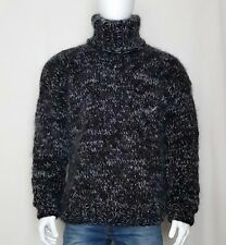 Hand Knitted WOOL MOHAIR mens sweater turtleneck thick hairy soft fuzzy Jumper