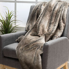 Tuscan Ash White Fur Fabric Throw Blanket
