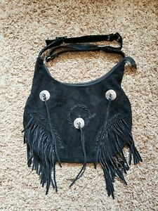 Unbranded Black Faux Suede Leather Fringe Tassles Crossbody Handbag Zip Purse