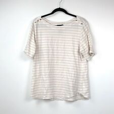 Chelsea & Theodore XXL Womens Beige Ivory Striped Quarter Sleeve Pullover Top