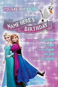 Personalised Frozen Party Invitations and Envelopes x 10
