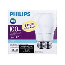 2x 14w Philips LED 100W Equivalent Daylight 5000K A19 Bulb E26 Base 1500 Lumens