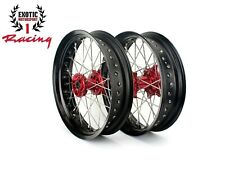 "Supermoto 17"" CNC Wheels Set For Honda CRF250R 2014-2019 CRF450R 2013-2019"