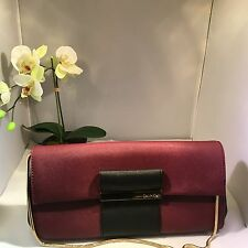 Calvin Klein Saffiano Leather Clutch Evening Bag Purse Handbag Vine Chain Strap