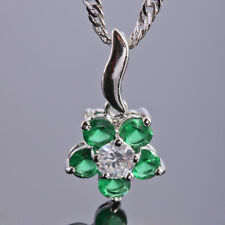 Xmas Wedding Jewelery Round Green Emerald 18K White Gold Plated Pendant Necklace