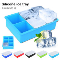 NE_ AU_ Food Grade Silicone 6 Grids Square Ice Cube Tray Maker Mold with Lid Dur