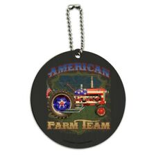 Farm Tractor American Team USA Flag Farming Round Wood Luggage ID Tag