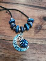 Wicca Celestial Moon Necklace - Handmade Polymer Clay Beads & Patina Blue Moon