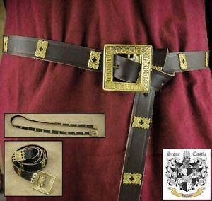Brown Leather Medieval Noblemans Long Belt For Costume Re-enactment Stage & LARP