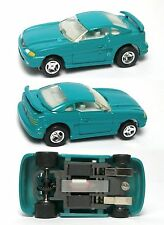 1996 LIFE-LIKE Mustang GT TEAL Green Removable Hard Top!  Slot Car 9735 Chromed!