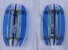 1950/70' Paire d'appliques bleues en verre Fontana Arte