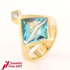 Damenring - 18K/750 Gelbgold - Aquamarin - 1 Diamant ca 0,14ct - W/SI - Gr. 51