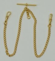 QUALITY ROLLED GOLD double albert chain pocketwatch chain fob watch T bar NEW