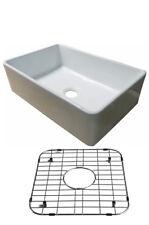 "30"" White Fireclay Farmhouse Apron Kitchen Sink-Protective Steel Grid & Drain"