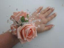 Peach Wrist Corsage Prom Or Wedding Flowers Foam Rose Bride Maid Mother
