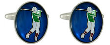Rhodium Plated Golfer with Blue Background Oval Novelty Cufflinks 902310