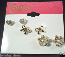 Candies Goldtone Heart Bow and Flower 3 Stud Earring Set Perfect Small Size NWT