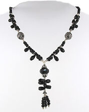 Black Onyx Bead Necklace With Sterling Silver Rings