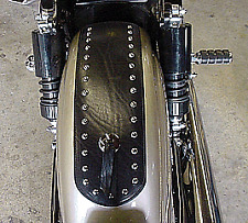 Leather Motorcycle Rear Fender Cover Bib Studded Black