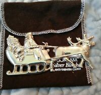 Rare 1979 Gorham Sterling Silver Santa in the Sleigh Christmas Ornament 4""