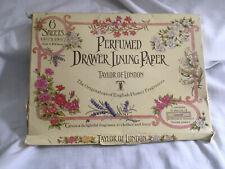 VINTAGE Taylor of London Perfumed Drawer Lining Paper 6 Sheets Lavender