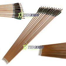12 PCS SP350 Pure Carbon Wood Laminated Arrows Archery Compound Traditional