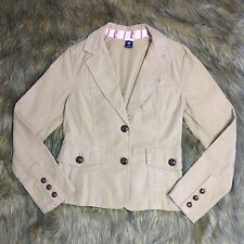Gap Women's Sz 10 Brown Tan Blazer Style Buttoned Denim Jacket